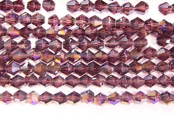 Deep Amethyst AB Crystal Bicones