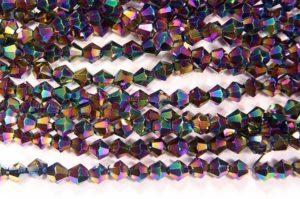 Metallic Rainbow Crystal Bicones