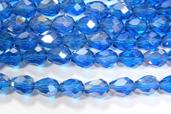 Lustre Azure Blue Facetted Crystal Drops