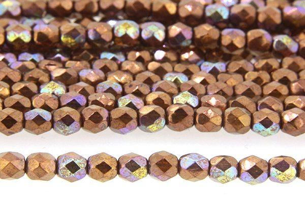Metallic Copper Iris Czech Glass