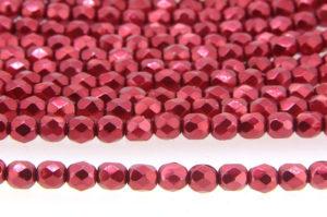 Satin Metallic Ruby Czech Glass