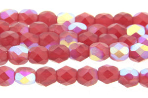AB Lustred Frosted Ruby Czech Glass