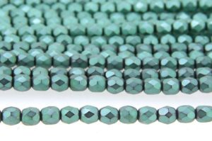 Frosted Transparent Teal Emerald Czech Glass