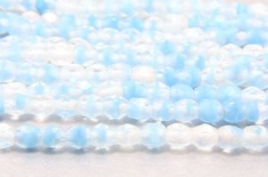 Frosted Baby Blue Clear Hurricane Czech Glass