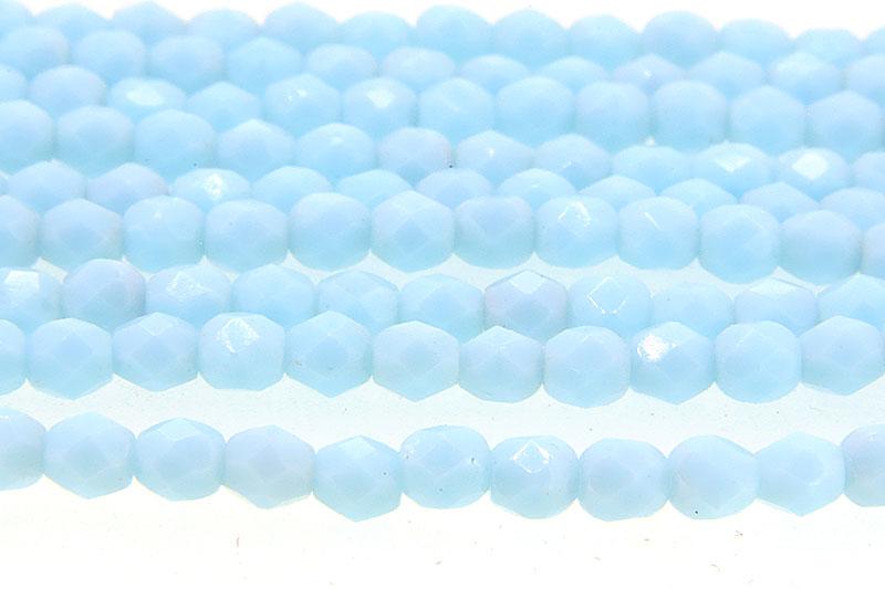 Opaque Baby Blue Lustre Czech Glass