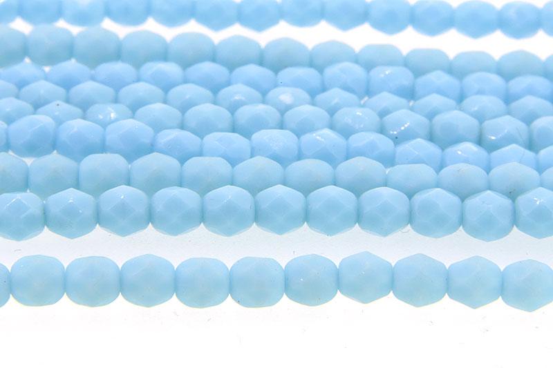 Opaque Light Blue Lustre Czech Glass