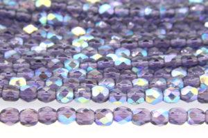 Sapphire Fumed Transparent Deep Purple Czech Glass