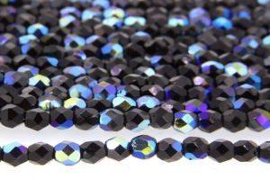 Sapphire Fumed Opaque Jet Czech Glass