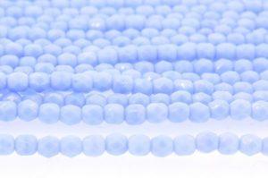 Opaque Lustre Powder Blue Czech Glass