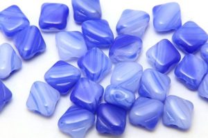 Blue Sky Swirl Czech Silky Beads