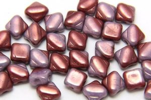 Cranberry Swirl Czech Silky Beads