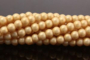 Pale Gold Satin Glass Pearls