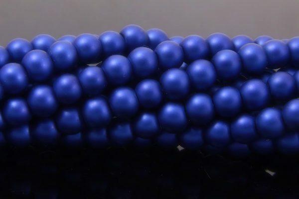 Royal Blue Satin Glass Pearls