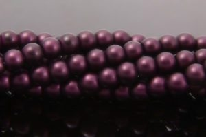 Deep Plum Satin Glass Pearls