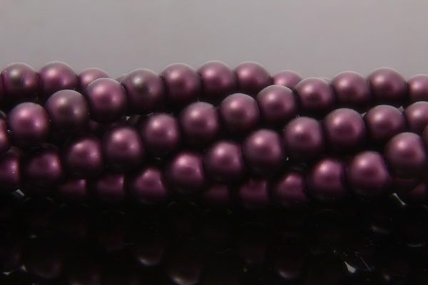 Deep Plum Satin Glass Pearls