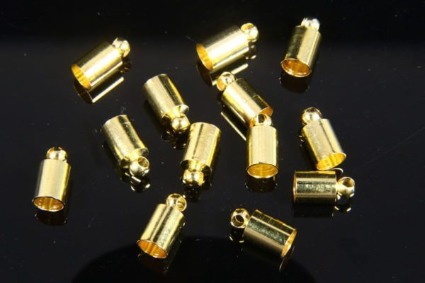 4mm Gold Glue In End Caps 16pcs