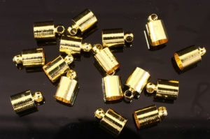 6mm Gold Glue In End Caps 16pcs