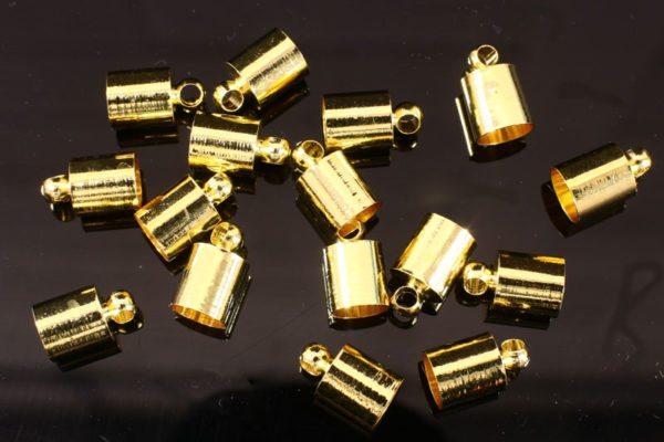 6mm Gold Glue In End Caps 16pcs