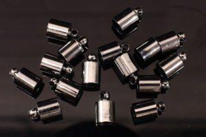 6mm Black Glue In End Caps 16pcs