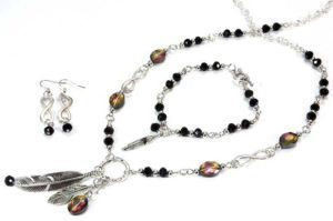 celestial serenity feather necklace bracelet and earrings