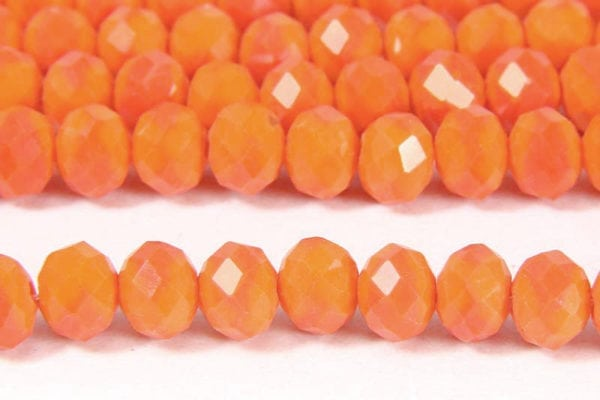 Opaque Tangerine Facetted Crystal Donuts