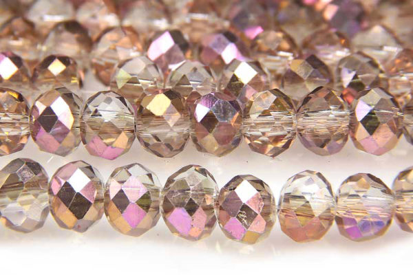 Demi Coated Violet Copper Facetted Crystal Donuts