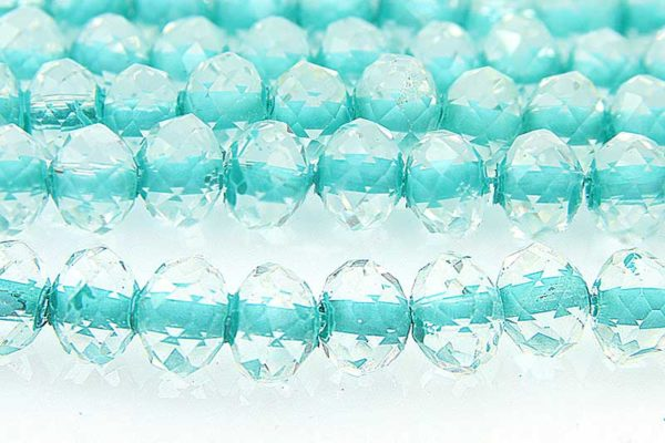 Colour Lined Turquoise Facetted Crystal Donuts