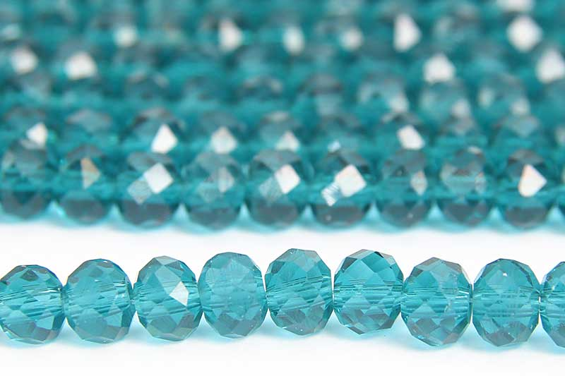 Teal Azure Lustre Facetted Crystal Donuts