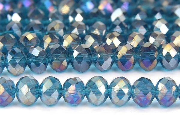 Poseidon Blue AB Facetted Crystal Donuts