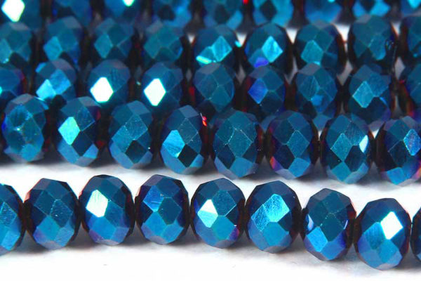 Electric Blue Facetted Crystal Donuts
