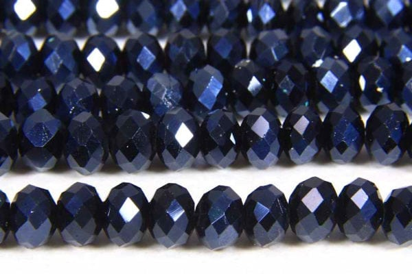 Metallic Midnight Blue Facetted Crystal Donuts