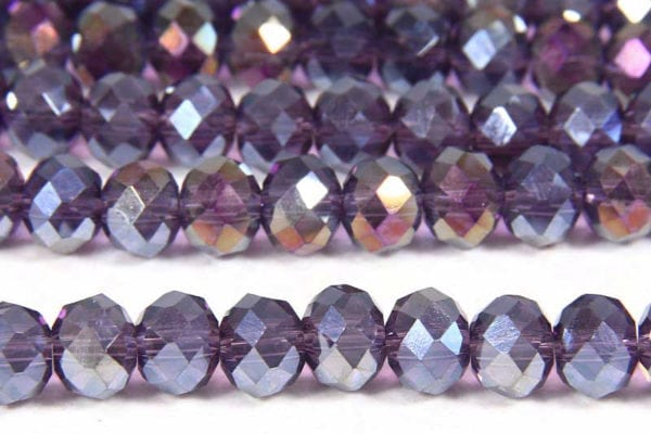 Lustred Purple AB Facetted Crystal Donuts