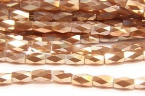 Champagne Lustre Facetted Crystal Bugles