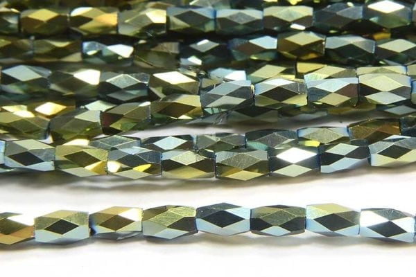 Metalic Bluegrass Facetted Crystal Bugles