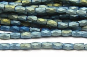 Frosted Metallic Teal Facetted Crystal Bugles