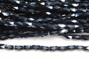 Midnight Blue Lustre Facetted Crystal Bugles