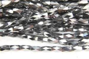 Metallic Silver Facetted Crystal Bugles