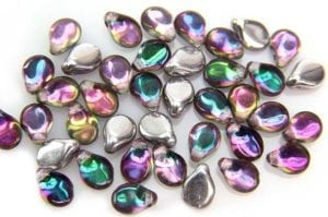 Silver Coated Rainbow Pip Beads