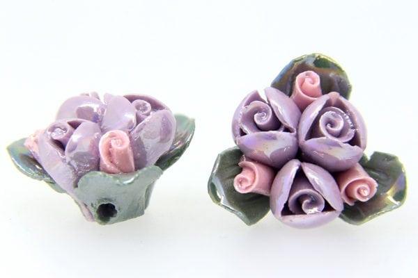 3 Glazed Lilac Roses