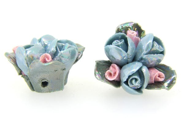 3 Glazed French Blue Roses