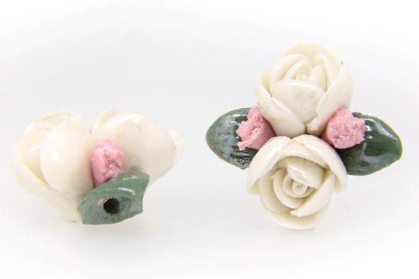 2 Large Glazed Lilly White Roses