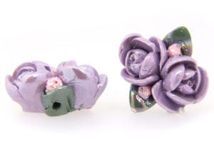 2 Large Glazed Lilac Roses