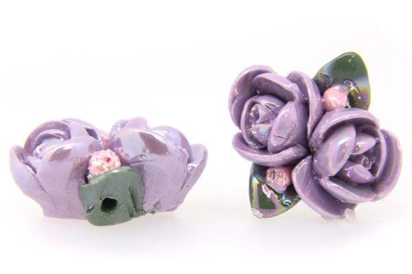 2 Large Glazed Lilac Roses