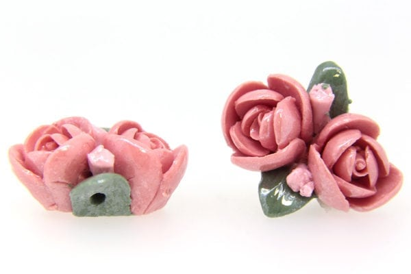 2 Large Glazed Pink Roses