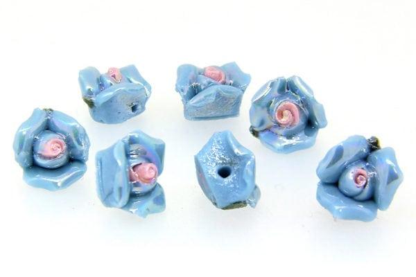 French Blue Glazed Flowers