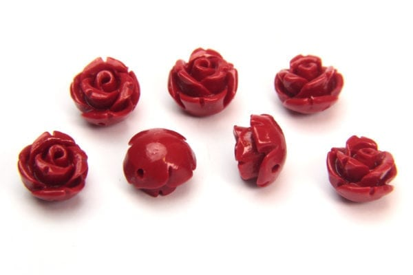 Red Rose Hand Crafted Gemstone Flowers