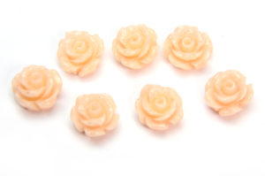 Shell Pink Rose Hand Crafted Gemstone Flowers