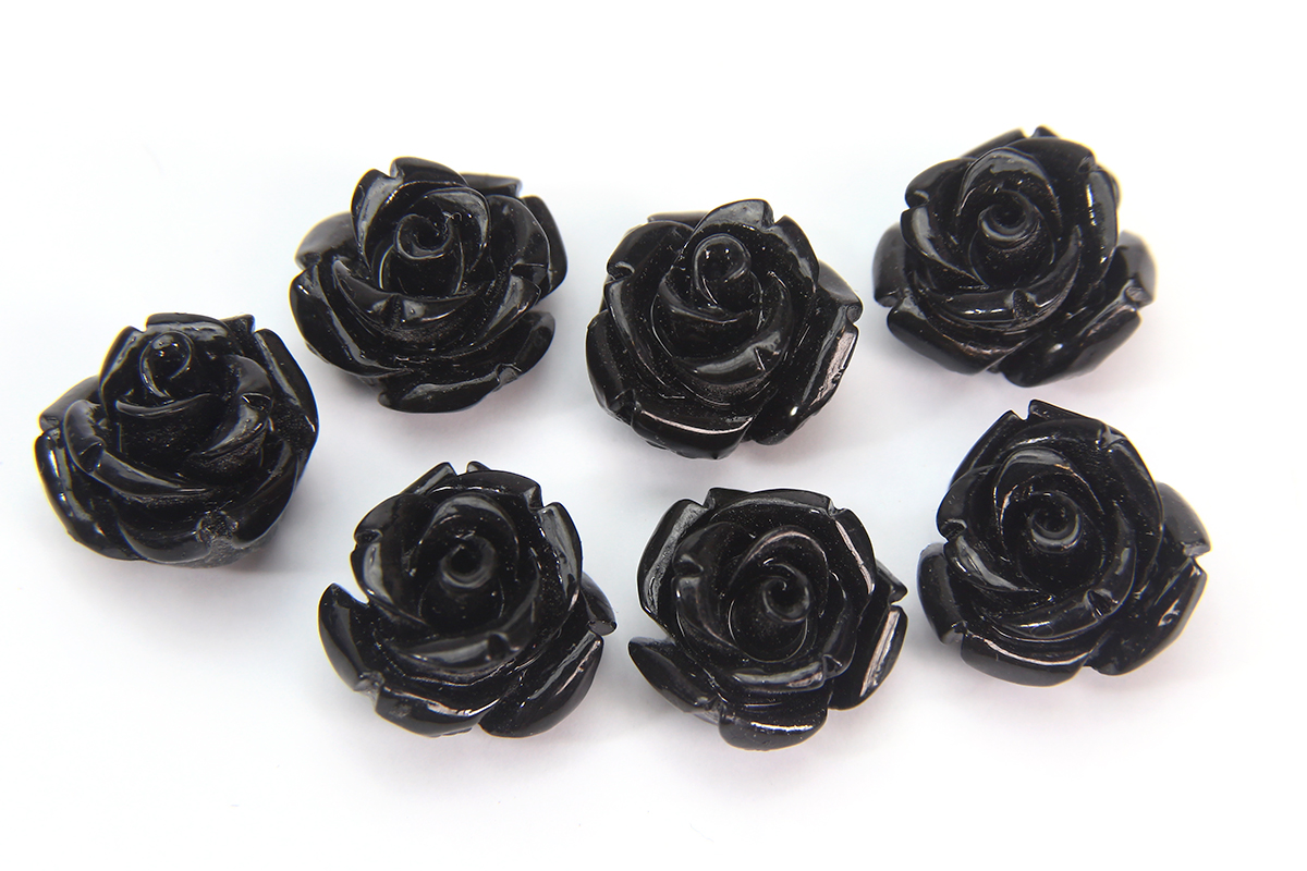 Black Rose Hand Crafted Gemstone Flowers
