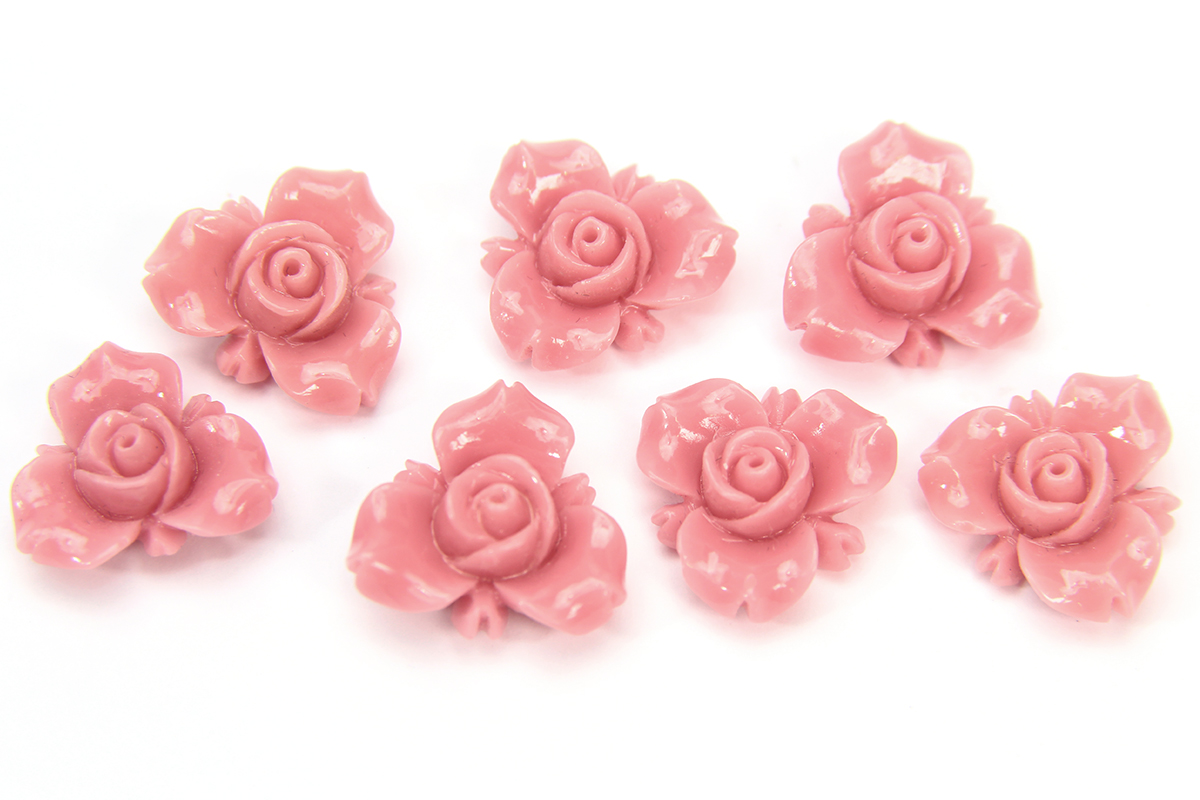 Pastel Pink Open Rose Hand Crafted Gemstone Flowers