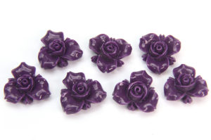 Deep Purple Open Rose Hand Crafted Gemstone Flowers